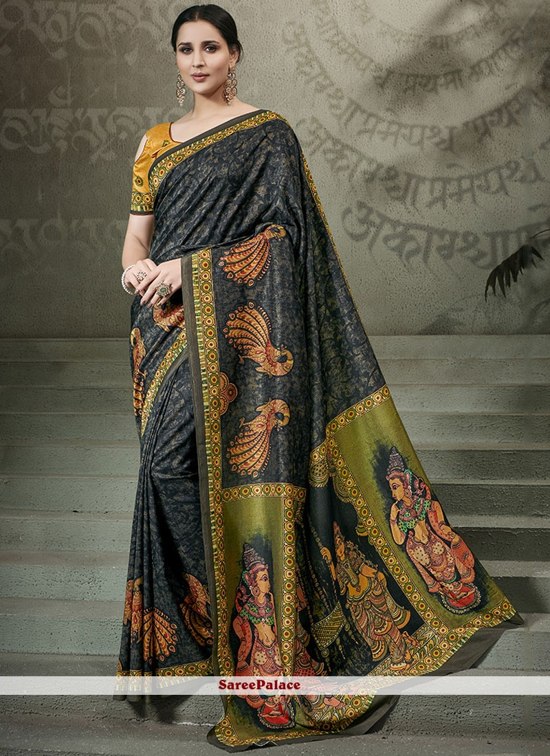 Digital Print Tussar Silk Traditional Saree in Multi Colour