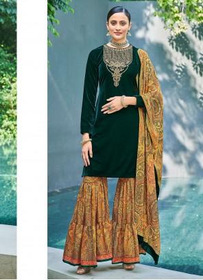 Digital Print Velvet Green Designer Pakistani Salwar Suit