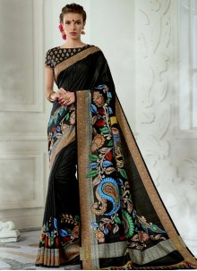 Digital Print Work Black Tussar Silk Casual Saree