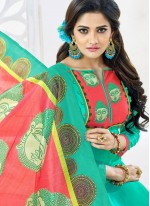 Digital Print Work Chanderi Churidar Suit