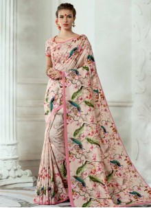 Digital Print Work Tussar Silk Casual Saree