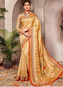 Digital Print Yellow Banarasi Silk Silk Saree