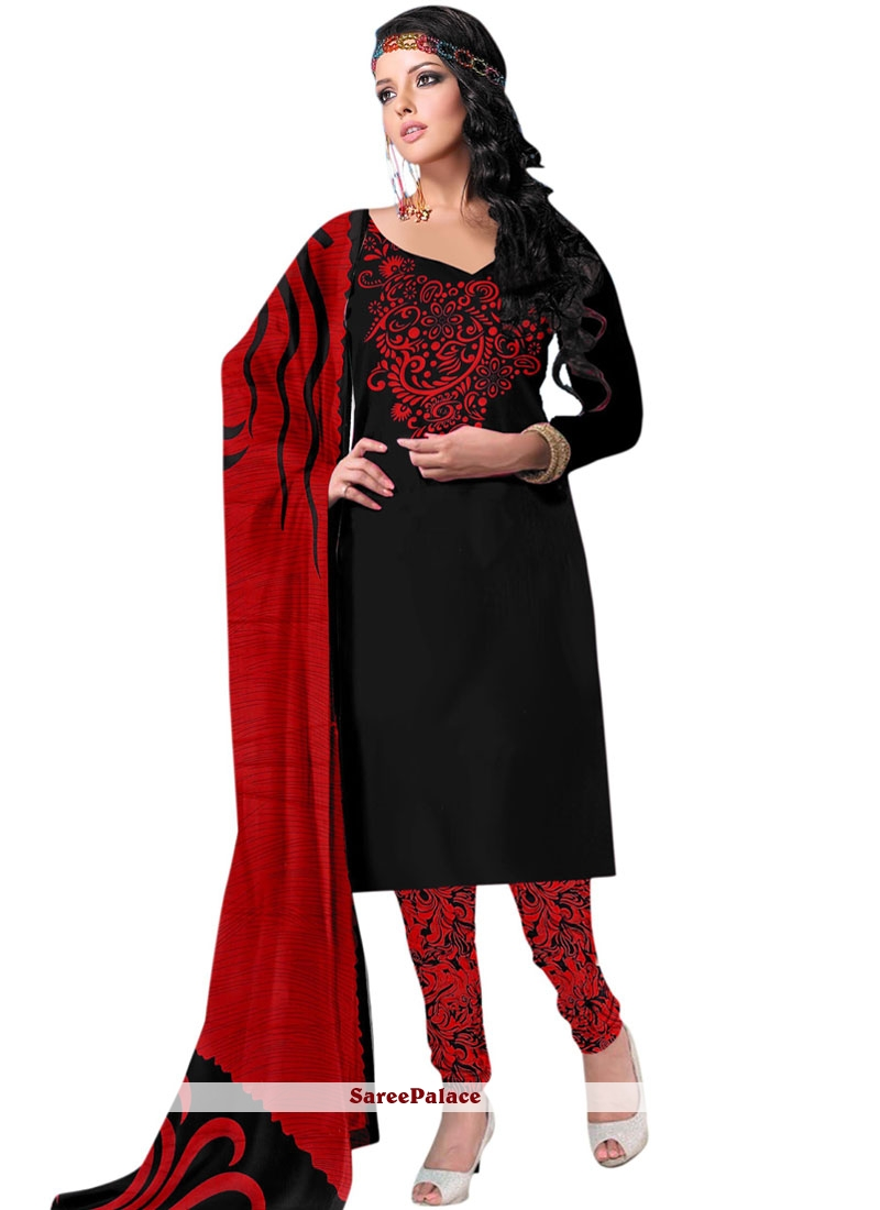Dignified Black and Red Churidar Salwar Suit