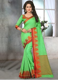 Dignified Cotton   Green Saree