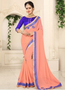 Dignified Faux Georgette Embroidered Work Saree