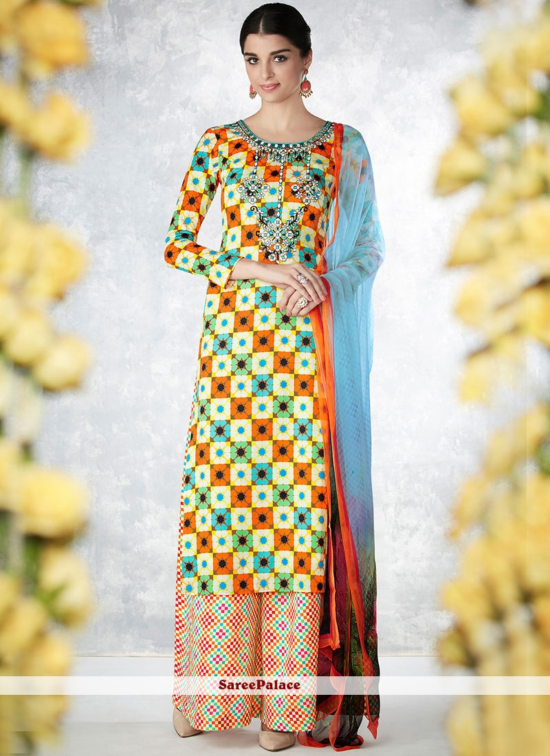 1e5ae6ad5d Buy Dignified Multi Colour Print Work Cotton Palazzo Designer Salwar Suit  Online