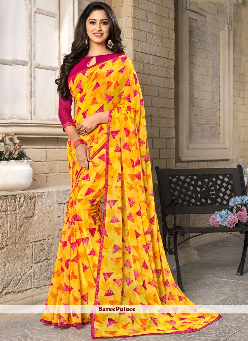 Dignified Printed Work Work Yellow Casual Saree