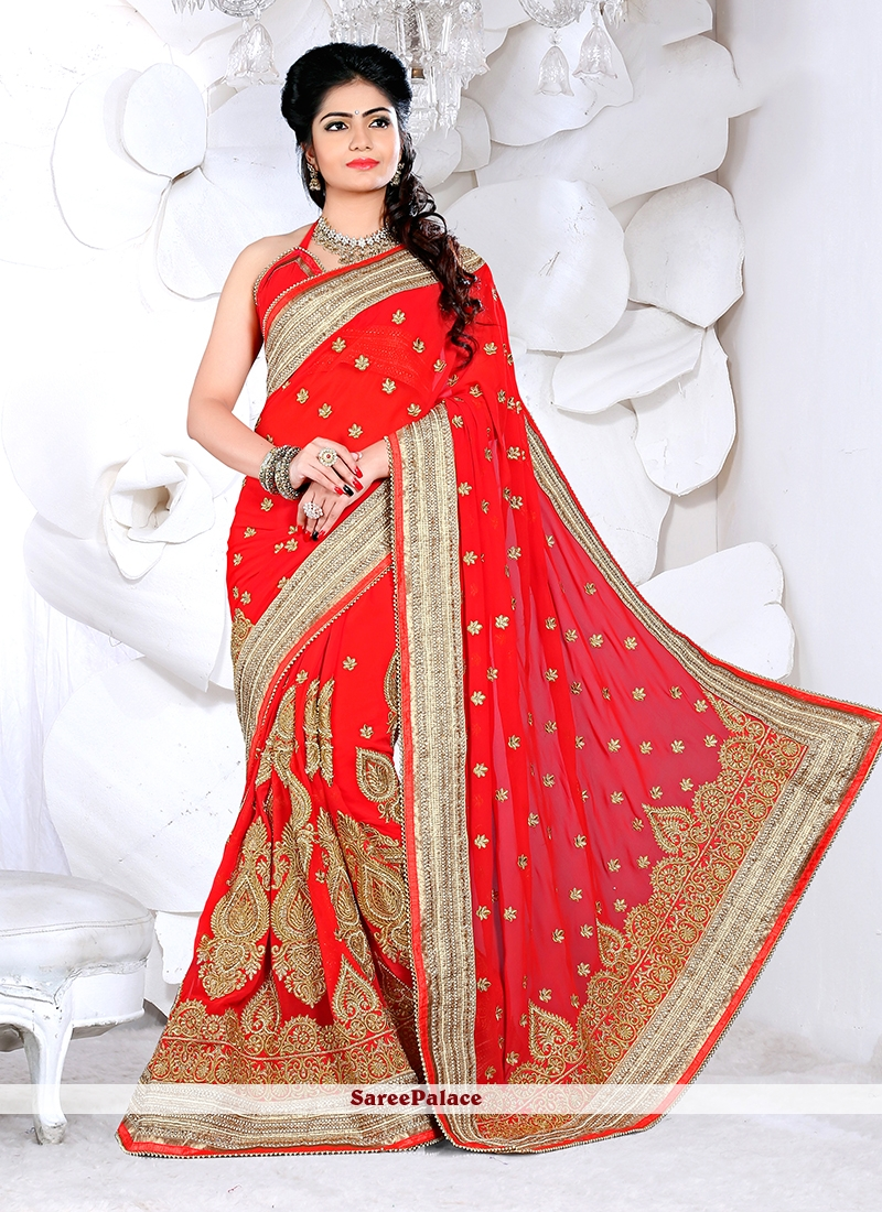 Dignified Red Classic Designer Saree