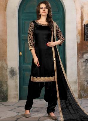 Dilettante Embroidered Work Black Art Silk Salwar Kameez