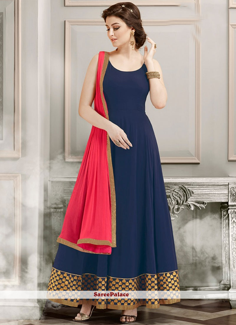 Dilettante Navy Blue Lace Work Georgette Anarkali Salwar Kameez