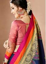 Distinctive Cotton Silk Navy Blue Thread Work Work Traditional  Saree
