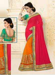 Distinctive Embroidered Work Designer Half N Half saree