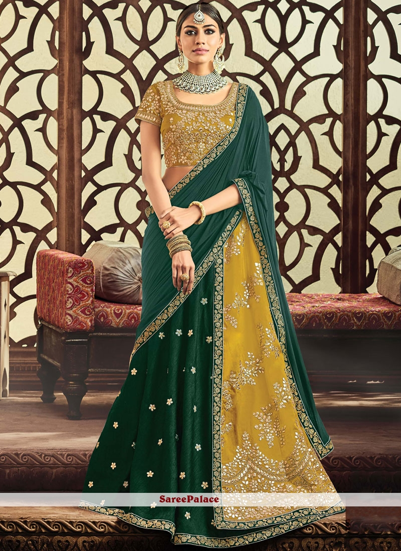 0618d8d53d Buy Distinctive Green and Mustard Lace Work Lehenga Choli Online