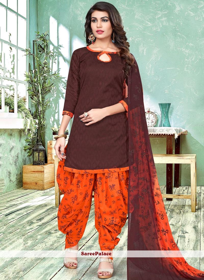 334b89ee6c Buy Distinctively Brown and Orange Printed Work Work Cotton Patiala Salwar  Suit Online