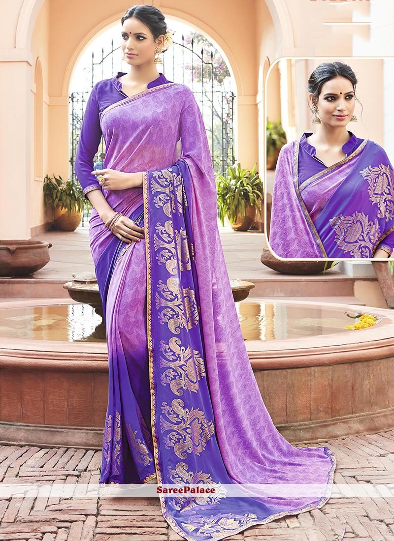 Distinctively Faux Georgette Purple Print Work Printed Saree