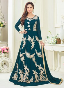 Distinctively Lace Work Faux Georgette Floor Length Anarkali Suit