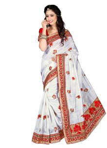 Distinctively Resham Work White Designer Saree