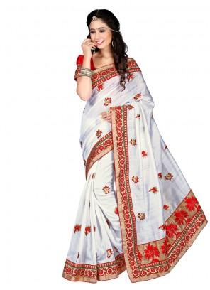 Distinctively Resham Work White Designer Saree