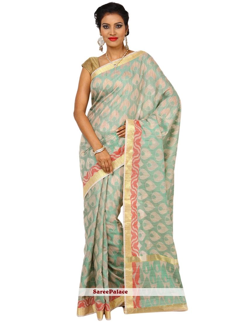 Distinguishable Beige Weaving Work Tussar Silk Traditional  Saree