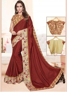 Distinguishable Maroon Designer Traditional Saree