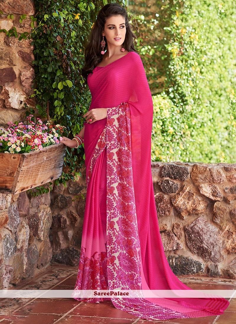 Distinguishable Print Work Hot Pink Printed Saree