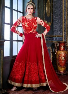 Distinguishable Red Anarkali Suit