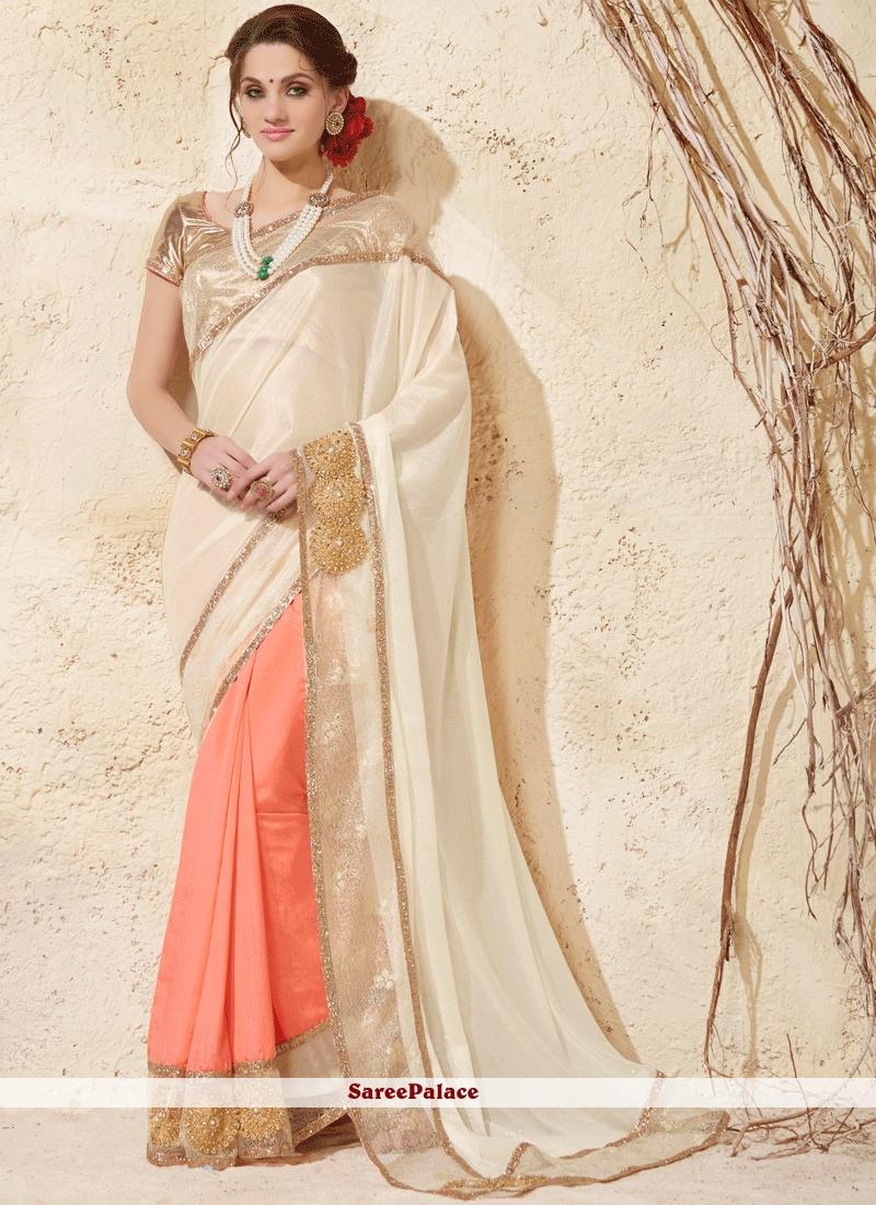 a4b792b9eb0b93 Buy Divine Embroidered Work Cream and Peach Art Silk Designer Half N Half  Saree Online