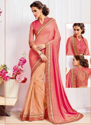 Divine Peach and Pink Embroidered Work Art Silk Half N Half Trendy Saree
