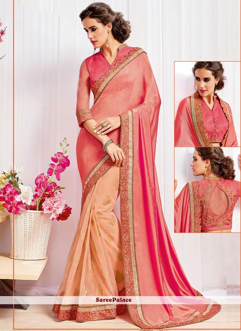 043413eddaa3a4 Buy Divine Peach and Pink Embroidered Work Art Silk Half N Half Trendy Saree  Online