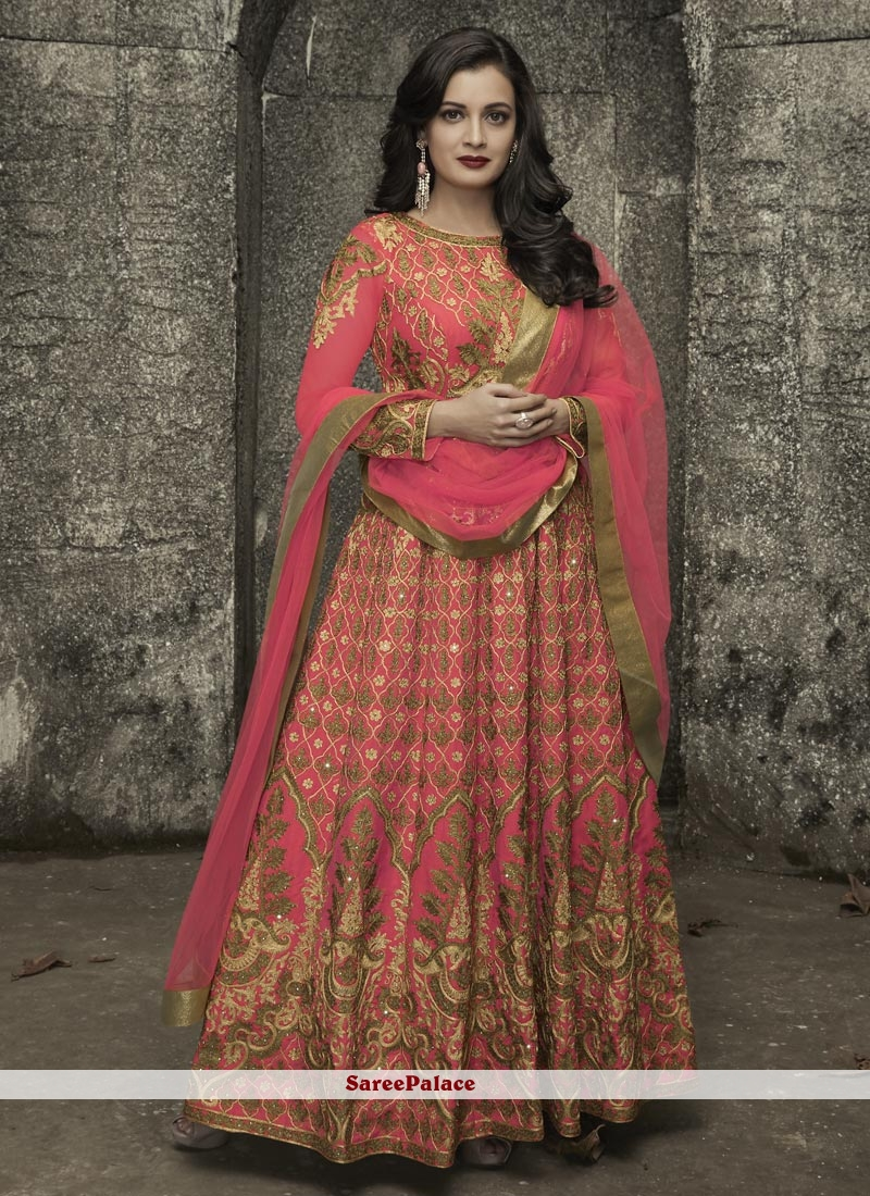 Diya Mirza Hot Pink Art Silk Floor Length Anarkali Suit