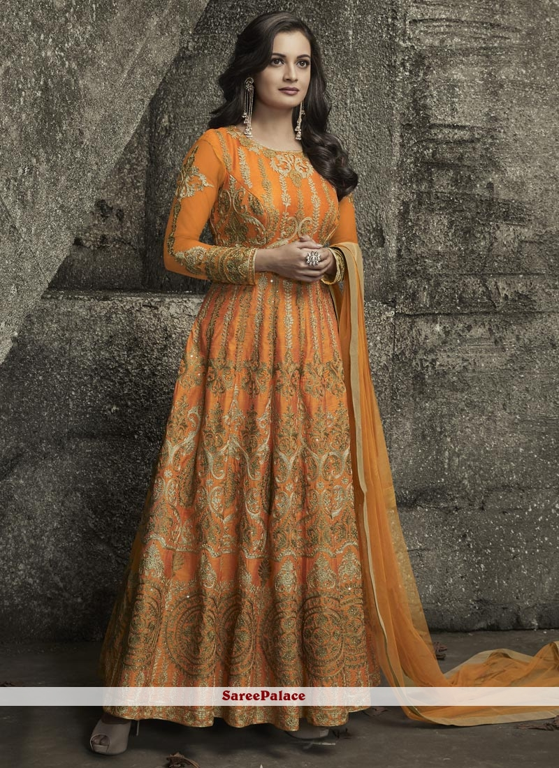 2f0bad3738 Buy Diya Mirza Orange Art Silk Stone Work Floor Length Anarkali Suit Online