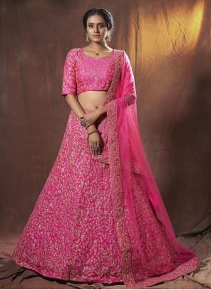 Dori Work Hot Pink Lehenga Choli
