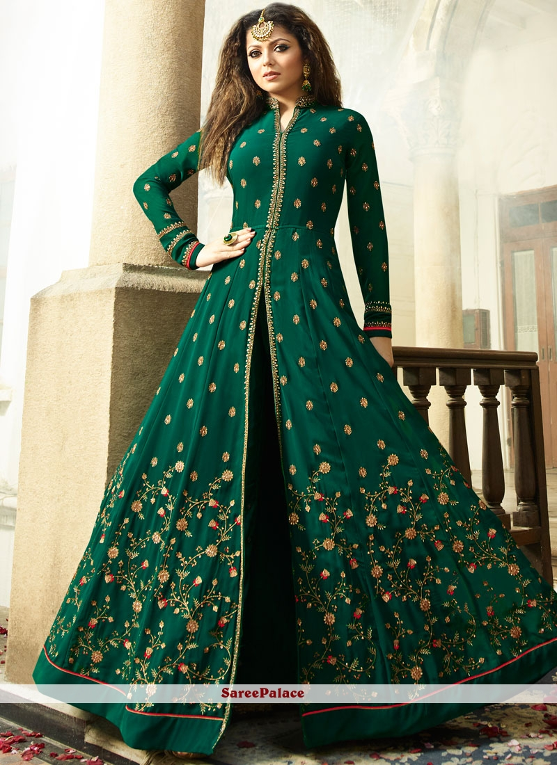 4d9a99947f Buy Drashti Dhami Faux Georgette Resham Work Floor Length Anarkali Suit  Online