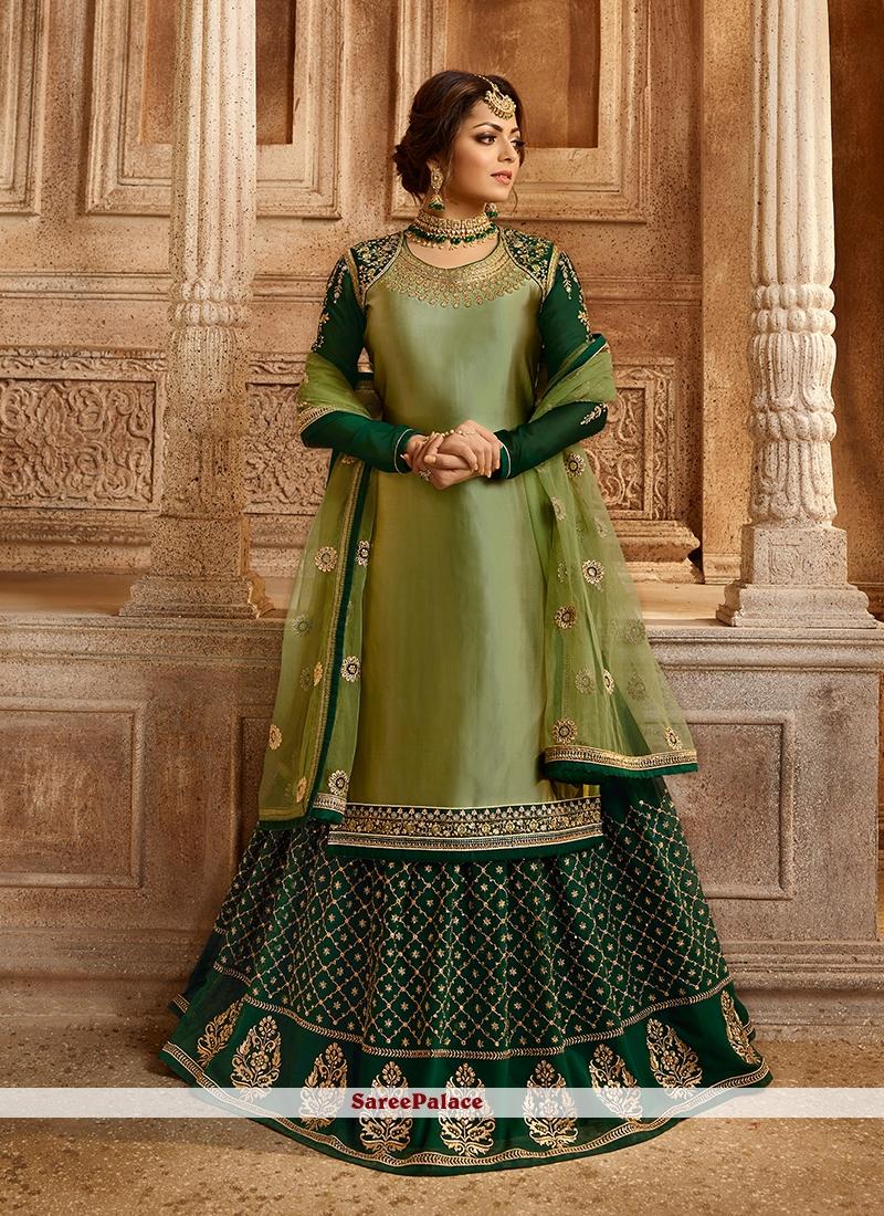 Drashti Dhami Georgette Satin Green Lace Lehenga Choli
