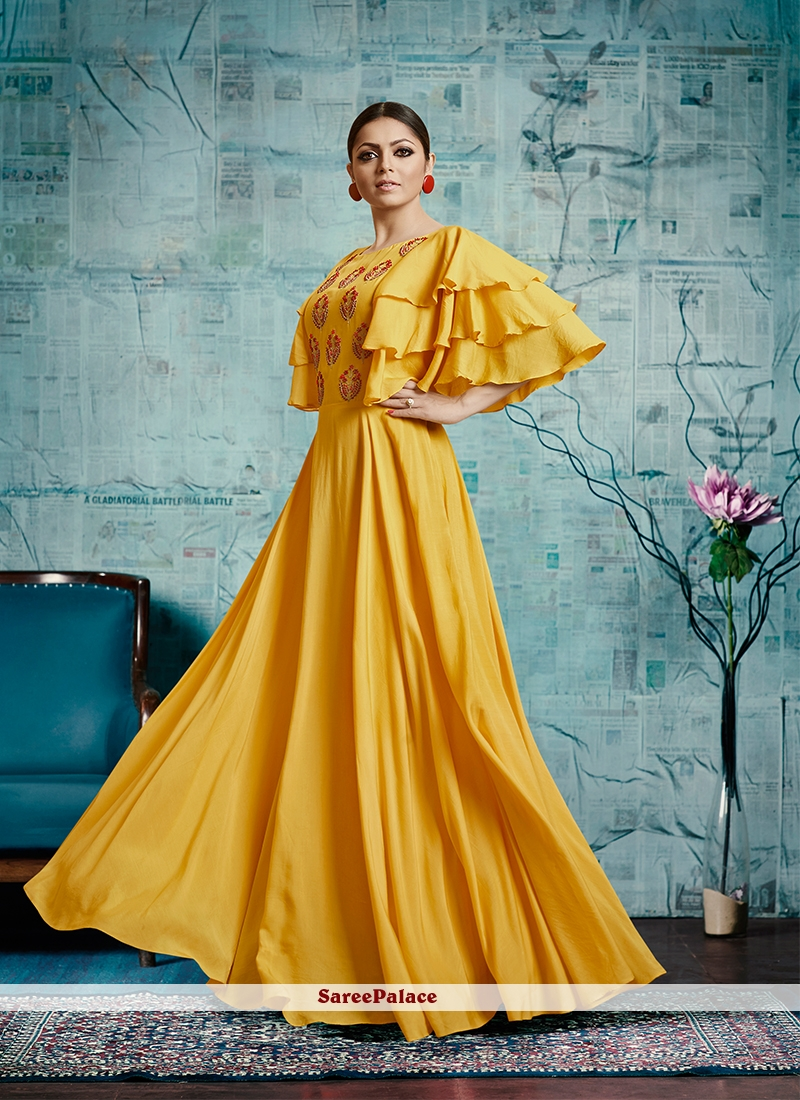 d6dbbc0af6 Buy Drashti Dhami Muslin Yellow Readymade Gown Online