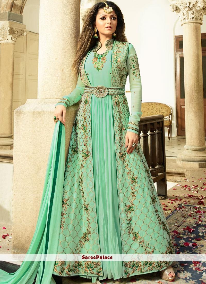 Drashti Dhami Resham Work Sea Green Floor Length Anarkali Suit