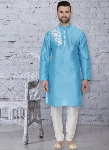 Dupion Silk Blue Embroidered Kurta Pyjama