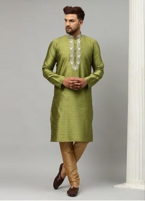 Dupion Silk Embroidered Green Kurta Pyjama