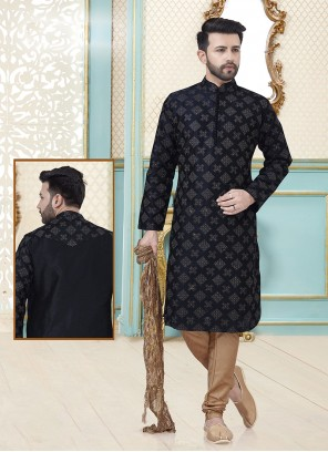 Dupion Silk Embroidered Kurta Pyjama in Black