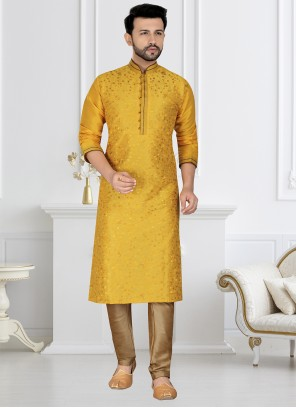 Dupion Silk Embroidered Kurta Pyjama in Yellow