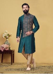 Dupion Silk Embroidered Teal Kurta Pyjama