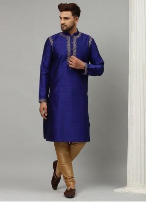 Dupion Silk Kurta Pyjama in Blue