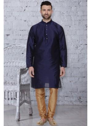 Dupion Silk Kurta Pyjama in Navy Blue