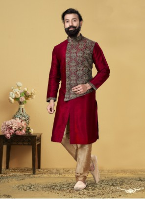 Dupion Silk Kurta Pyjama in Red