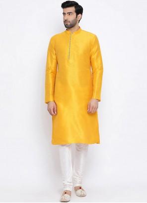 Dupion Silk Kurta Pyjama in Yellow