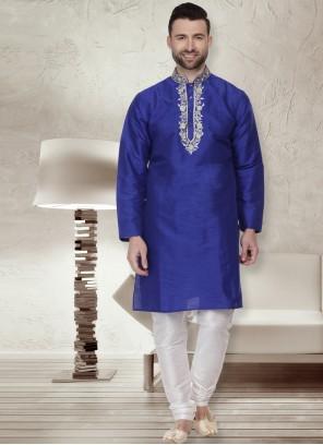 Dupion Silk Navy Blue Embroidered Kurta Pyjama