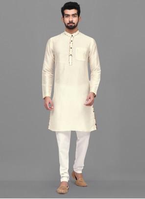 Dupion Silk Off White Kurta Pyjama
