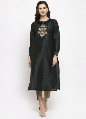 Dupion Silk Readymade Salwar Kameez in Black