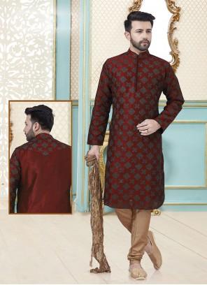 Dupion Silk Red Kurta Pyjama