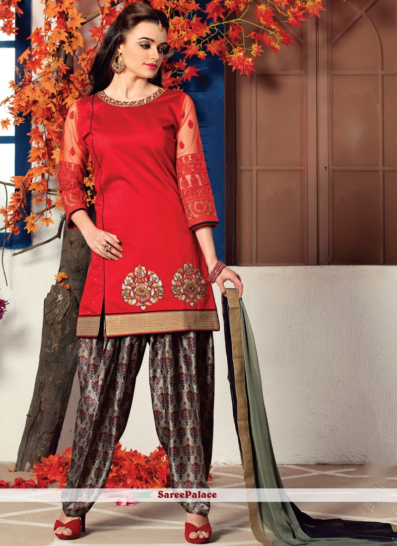 Dupion Silk Red Readymade Suit
